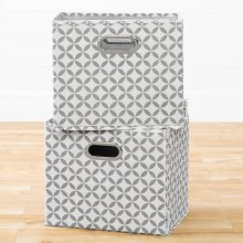 Fabric Storage Baskets, 2-Pack - Mouse Gray and White