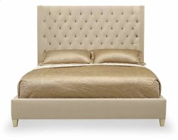 California King-Sized Salon Upholstered Panel Bed in Salon Alabaster (341)