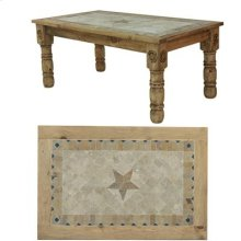 "96"" x 39"" x 30"" Wooden Dining Table with Stone Insert and Stone Star"
