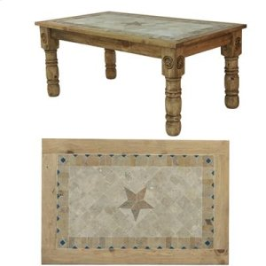 "60"" x 39"" x 30"" Wooden Dining Table with Stone Insert and Stone Star"