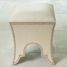 Moroccan Poof-Beige Leather
