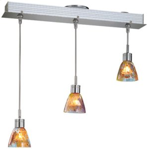 3-lite Ceiling Lamp, Ps W/colored Orange Glass, Mr16 35wx3