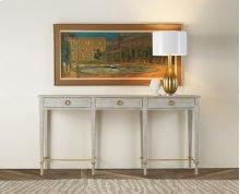Modernist Console, Painted Antique Grey. Gold Leaf Details.