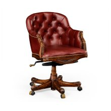 Chesterfield Style Mahogany Office Chair, Upholstered in Red Leather