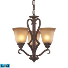 Lawrenceville 3-Light Chandelier in Mocha with Antique Amber Glass - Includes LED Bulbs