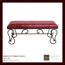 Bench Ottoman Red Leather Iron Legs