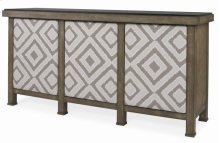 Buffet With Marble Top & Upholstered Door Fronts
