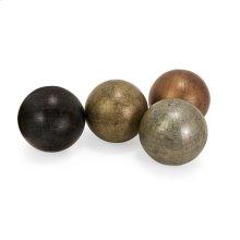 "Metallic Finish 5"" Globe Spheres with Map - Set of 4"