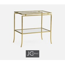 Gilded Iron Rectangular Side Table with A Clear Glass Top