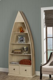 Tuscan Retreat® Dinghy Boat 4 Shelves Bookcase With Drawers - Gray With Country White Top Product Image