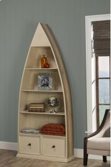 Tuscan Retreat® Dinghy Boat 4 Shelves Bookcase With Drawers - Gray With Country White Top