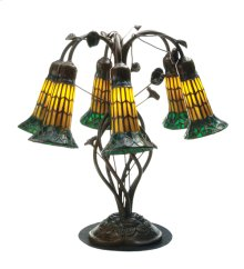 """19""""H Tiffany Pond Lily Amber and Green 6 LT Table Lamp"""
