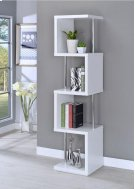 - Four tier bookcase finished in white with chrome details- Constructed with steel, MDF, particle board, and engineered veneer- Also available in black (#801419) Product Image