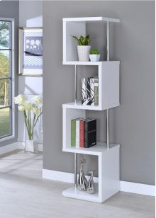 - Four tier bookcase finished in white with chrome details- Constructed with steel, MDF, particle board, and engineered veneer- Also available in black (#801419)