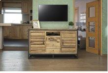 3 Drawer & 2 Doors TV Stand, w/ Iron base