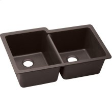 "Elkay Quartz Luxe 33"" x 20-1/2"" x 9-1/2"", Offset Double Bowl Undermount Sink, Chestnut"