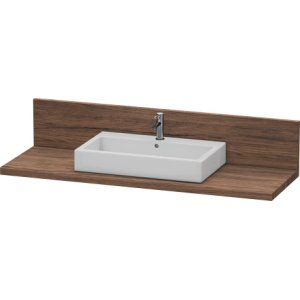 Console + Back Panel For Above-counter Basin And Vanity Basin, Walnut Dark Decor