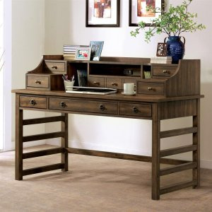 RiversidePerspectives - Leg Desk With Hutch - Brushed Acacia Finish