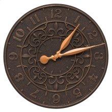 """Vine and Fleur 16"""" Indoor Outdoor Wall Clock - Oil Rubbed Bronze"""