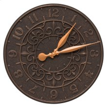 "Vine and Fleur 16"" Indoor Outdoor Wall Clock - Oil Rubbed Bronze"