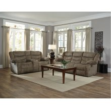 Manual Motion Tan Console Loveseat