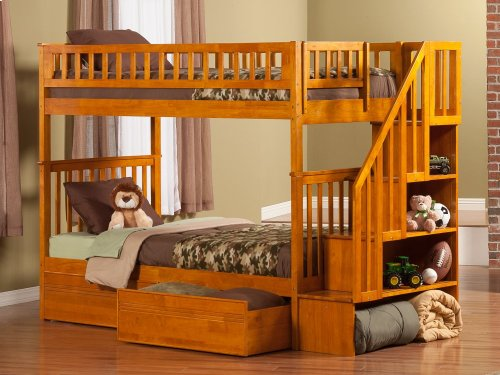 Woodland Staircase Bunk Bed Twin over Twin with Flat Panel Bed Drawers in Caramel Latte