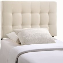 Lily Twin Tufted Upholstered Fabric Headboard in Ivory