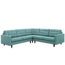 Empress 3 Piece Upholstered Fabric Sectional Sofa Set in Laguna