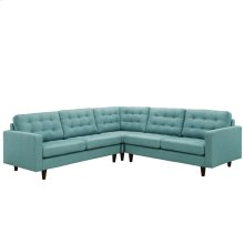 Empress 3 Piece Upholstered Fabric Sectional Sofa Set in Laguna