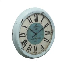 Distressed Blue Wall Clock with Roman Numerals