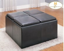 Square Storage Ottoman with 4 Stools and 4 Trays