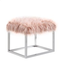 Sm Bench-metal Stainless Steel Frame-pink Fur #asf012