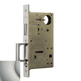 Satin Nickel with Lifetime Finish 8602 Pocket Door Lock with Pull