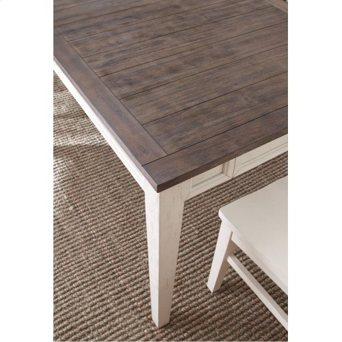 "Cayla Table, Dark Oak& White 40""x64""x80"" w/16"" Leaf"