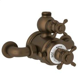 English Bronze Perrin & Rowe Edwardian Exposed Therm Valve With Volume And Temperature Control with Edwardian Cross Handle