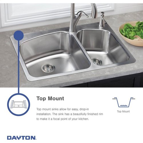 "Dayton Stainless Steel 33"" x 21-1/4"" x 6-9/16"", Equal Double Bowl Drop-in Sink"