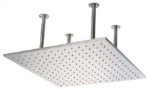"LED5014 20"" Square Brushed Solid Stainless Steel Multi Color LED Rain Shower Head"