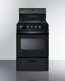 "24"" Wide Smoothtop Electric Range In Black, With Lower Storage Drawer, Oven Window, and Digital Clock"