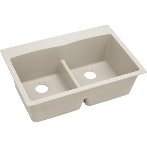 """Elkay Quartz Classic 33"""" x 22"""" x 10"""", Equal Double Bowl Drop-in Sink with Aqua Divide, Bisque"""