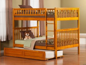 Woodland Bunk Bed Full over Full with Raised Panel Trundle Bed in Caramel Latte