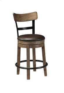 "Upholstered Swivel Barstool 24""- Pinnadel Grayish Brown Collection"
