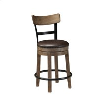 "Upholstered Swivel Barstool 24""- Pinnadel Grayish Brown Collection"