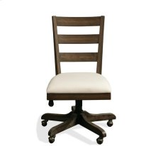 Perspectives Wood Back Upholstered Desk Chair Brushed Acacia finish