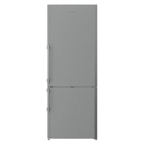 "27"" 15 cu ft bottom freezer fridge, stainless steel"