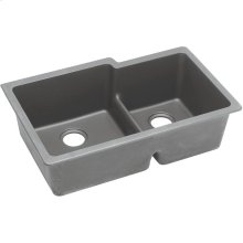 "Elkay Quartz Classic 33"" x 20-1/2"" x 9-1/2"", Offset Double Bowl Undermount Sink with Aqua Divide, Greystone"