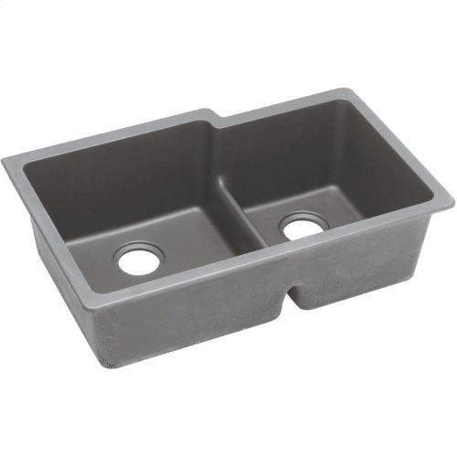 "Elkay Quartz Classic 33"" x 20-1/2"" x 9-1/2"", Offset Double Bowl Undermount Sink with Aqua Divide, Greystone"
