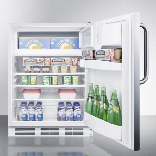 Built-in Undercounter Refrigerator-freezer for General Purpose Use, With Dual Evaporator Cooling, Cycle Defrost, Fully Wrapped Ss Exterior, and Lock