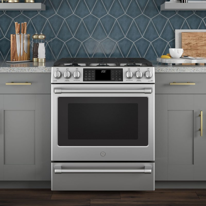 Slide-In Front Control, Dual Fuel, 5 6cu ft PreciseAir convection, Wifi  Connected Oven