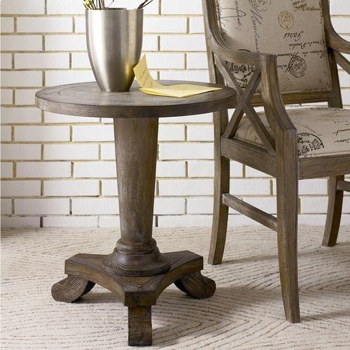 Hidden Treasures Driftwood Round Pedestal Table