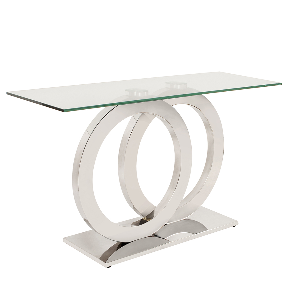 Stainless Steel Console Table With Circular Base